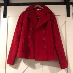 Red pea coat jacket